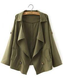 Green Lapel Casual Buttons Loose Coat