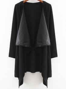 Black Long Sleeve Contrast PU Leather Coat