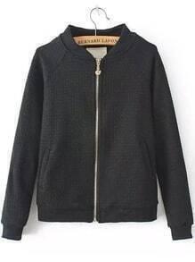 Black Stand Collar Crown Zipper Coat