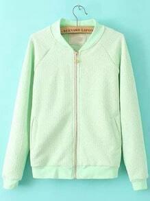 Green Stand Collar Crown Zipper Coat