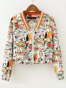 Multicolor Long Sleeve Graffiti Print Crop Jacket