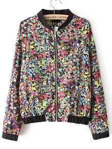 Multicolor Long Sleeve Graffiti Print Jacket