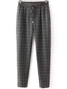 Grey Drawstring Waist Plaid Loose Pant