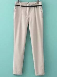 Beige Slim Casual Belt Pant