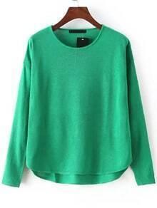 Green Round Neck Dip Hem Knit Sweater