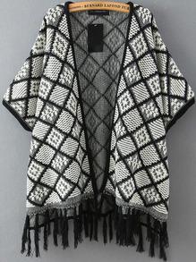 Black White Plaid Tassel Cardigan