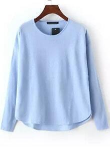 Blue Round Neck Dip Hem Knit Sweater
