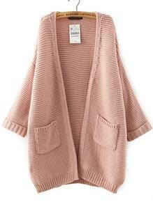 Pink Batwing Sleeve Pockets Knit Cardigan
