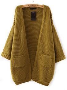 Green Batwing Sleeve Pockets Knit Cardigan