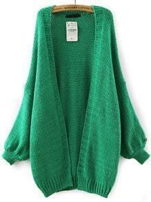 Green Batwing Long Sleeve Knit Loose Cardigan