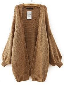 Khaki Batwing Long Sleeve Knit Loose Cardigan