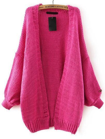 Rose Red Batwing Long Sleeve Knit Loose Cardigan