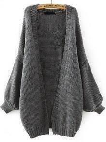 Grey Batwing Long Sleeve Knit Loose Cardigan