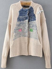 Apricot Long Sleeve Crane Embroidered Cardigan