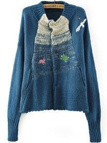 Blue Long Sleeve Crane Embroidered Cardigan