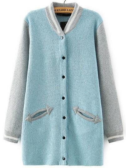 Blue Grey Stand Collar Pockets Knit Cardigan