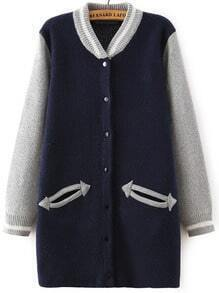 Navy Grey Stand Collar Pockets Knit Cardigan