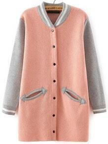 Pink Grey Stand Collar Pockets Knit Cardigan