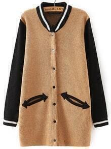 Khaki Black Stand Collar Pockets Knit Cardigan