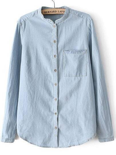 Blue Stand Collar Pocket Denim Blouse