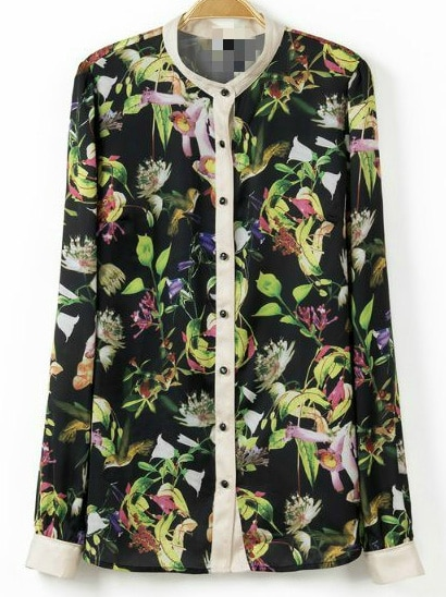 Multicolor Lapel Long Sleeve Leaves Print Blouse