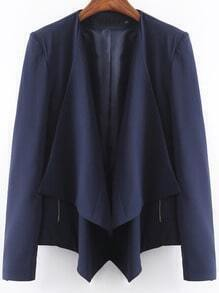 Navy Long Sleeve Zipper Casual Blazer