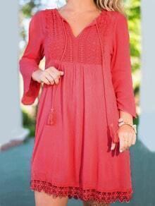 Red Bell Sleeve V Neck Crochet Shift Dress