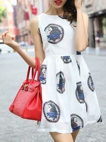 White Sleeveless Beauty Print Flare Dress