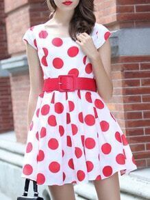 Red With Belt Polka Dot Dress
