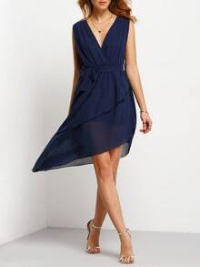 Royal Blue Dupioni Deep V Neck Unusual Chiffon Asymmetrical Dress