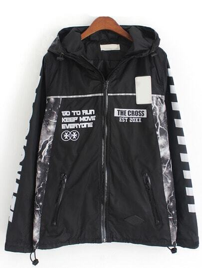 Black Hooded With Zipper Letter Print Coat