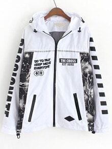 White Hooded With Zipper Letter Print Coat