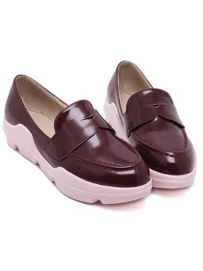 Wine Red Point Toe Vintage PU Flats