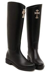 Black Cross Embellished Tall Boots