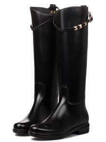 Black Buckle Strap PU Tall Boots