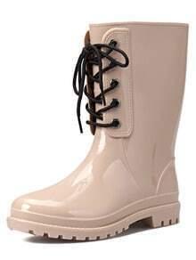 Apricot Lace Up PU Boots