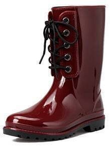 Wine Red Lace Up PU Boots