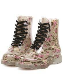 Apricot Vintage Print Lace Up Boots