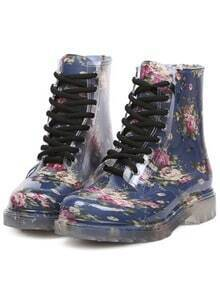 Blue Vintage Print Lace Up Boots