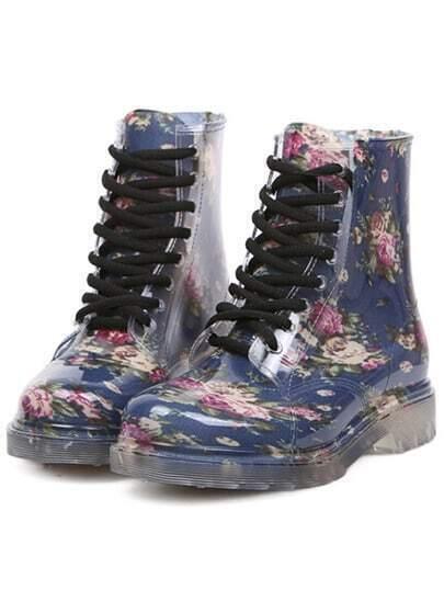 Blue Vintage Print Lace Up Boots