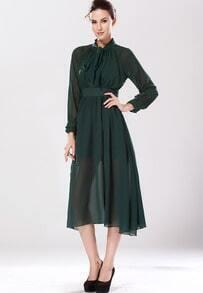Green Self-tie Bow High-Slit Chiffon Dress