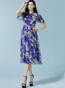 Blue Ruffle Sleeve Flower Print Chiffon Dress