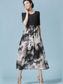 Black Half Sleeve Flower Print Chiffon Dress