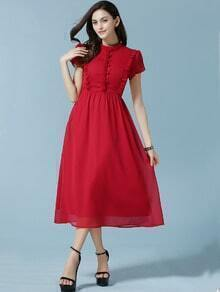 Red Stand Collar Fungus Chiffon Dress