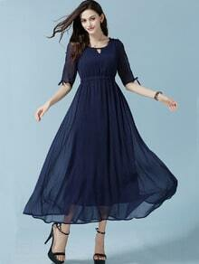 Navy Coctel Open Shoulder Keyhole Chiffon Dress