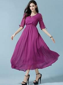 Purple Open Shoulder Keyhole Chiffon Dress
