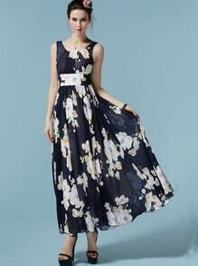 Navy Sleeveless Flower Print Chiffon Dress