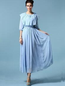Pale Blue Round Neck Chiffon Pleated Dress