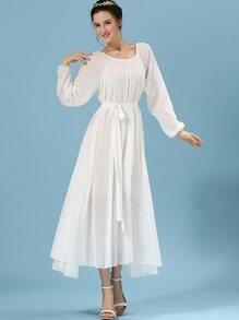 White Long Sleeve Self-Tie Chiffon Pleated Dress