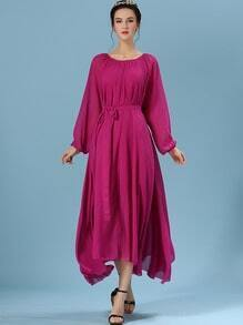 Rose Red Long Sleeve Self-Tie Chiffon Pleated Dress